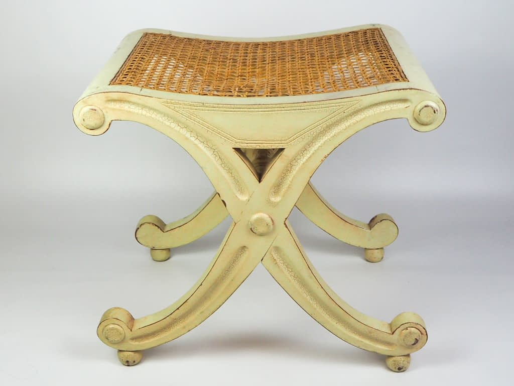 Antique French Empire Double X-Form Style Painted Stool with Cane Seat