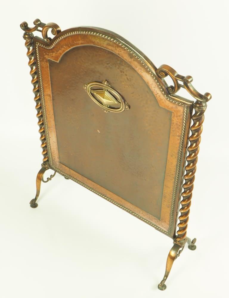 Antique Arts & Craft Copper and Brass Barley Twist Freestanding Fireplace Screen