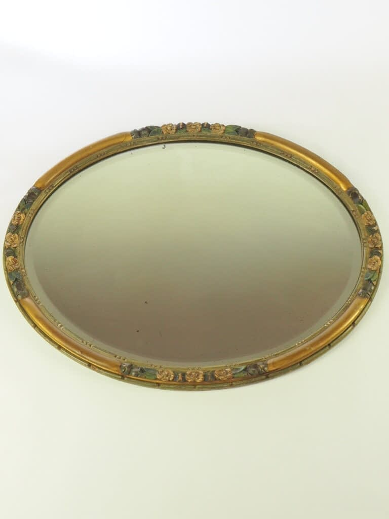 Large Vintage Art Deco Barbola Bevelled Wall Mirror with Patina
