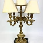 Ornate French Rococo Cherub Gilt Bronze Candelabra Table Lamp