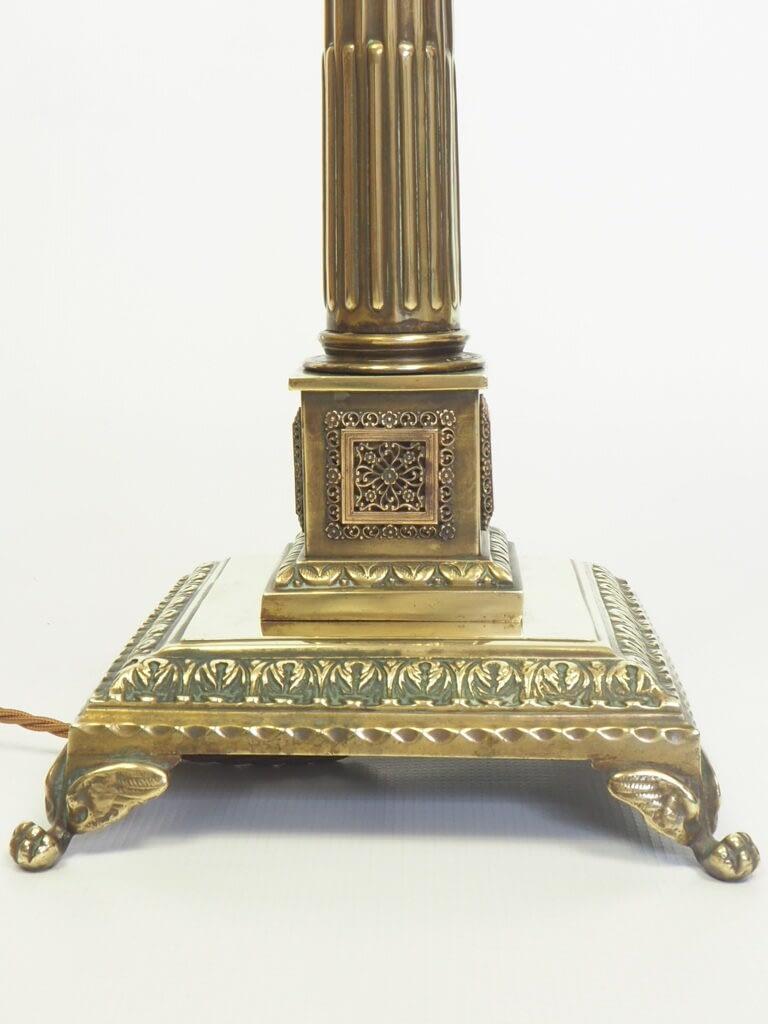 Victorian Regency-Revival Lacquered Brass Corinthian Column Table Lamp