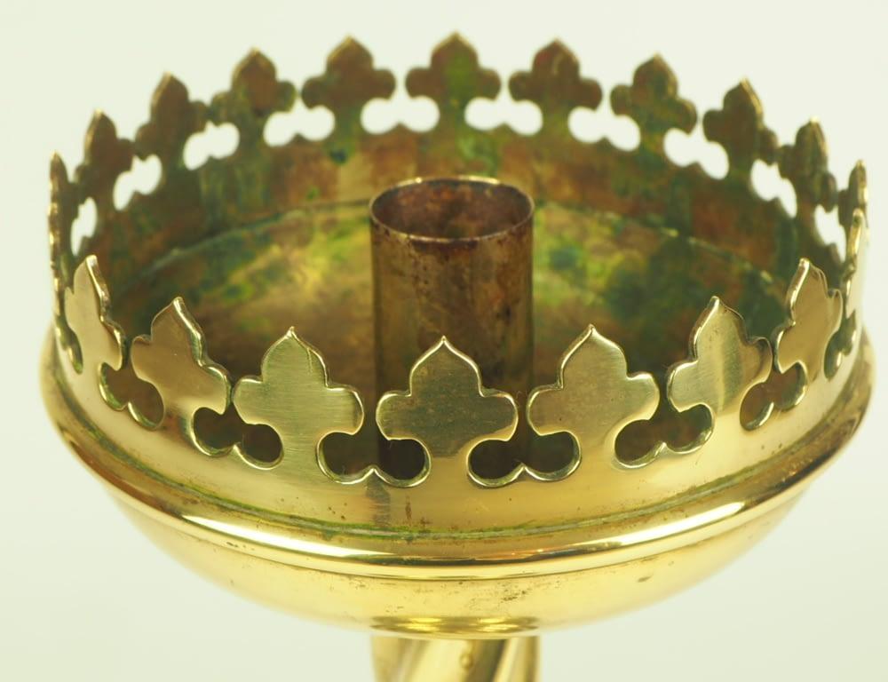 Antique 19th Century Gothic Brass Church Ecclesiastical Barley Twist Candlestick