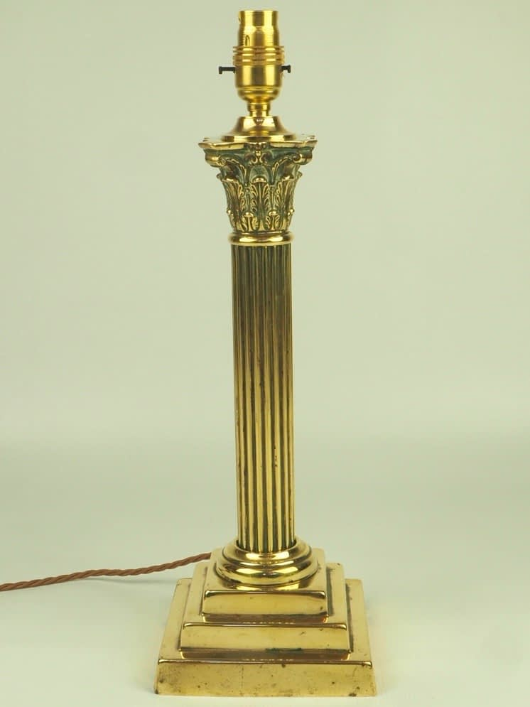 Antique 19th Century Brass Corinthian Column Table Lamp