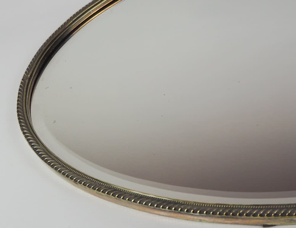 Large English 1920's Silver Plated Oval Bevelled Wall Mirror