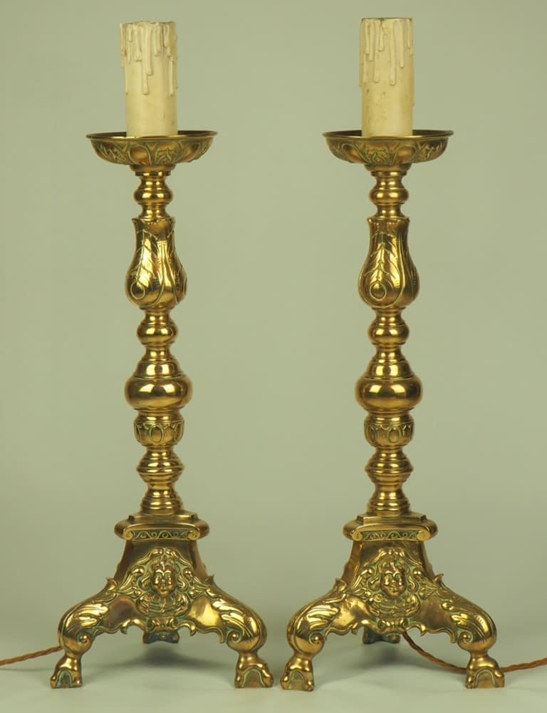 Pair of Large Antique 19th Century Brass Church Ecclesiastical Candlestick Lamps