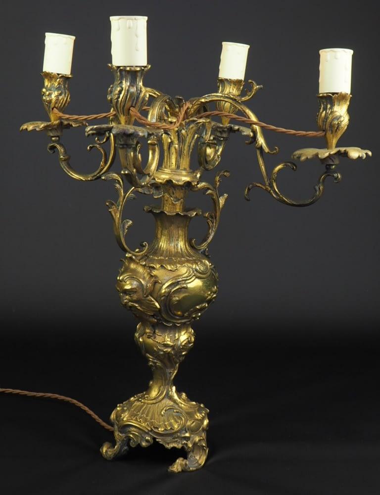 Antique French 19th Century Louis Xv Gilt Ormolu Candelabra Table Lamp