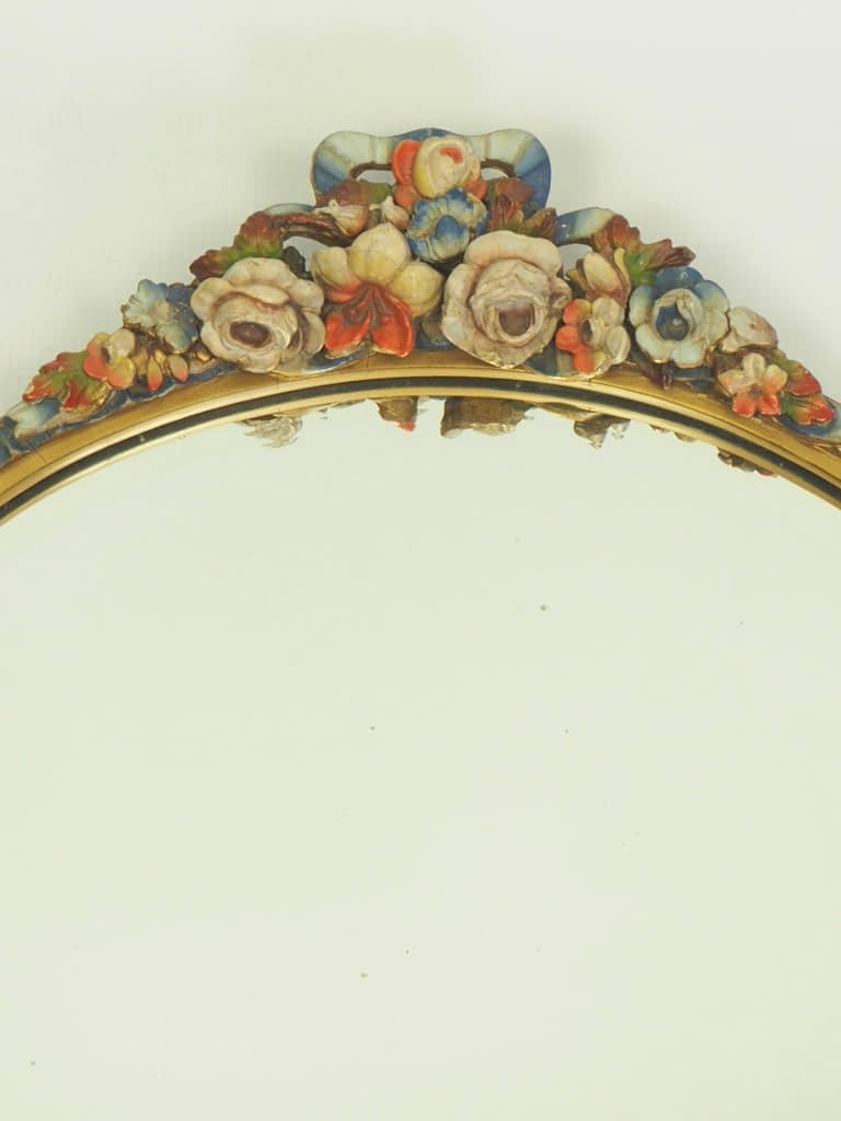 French Vintage Art Deco Barbola Wall Mirror with Bevelled Glass