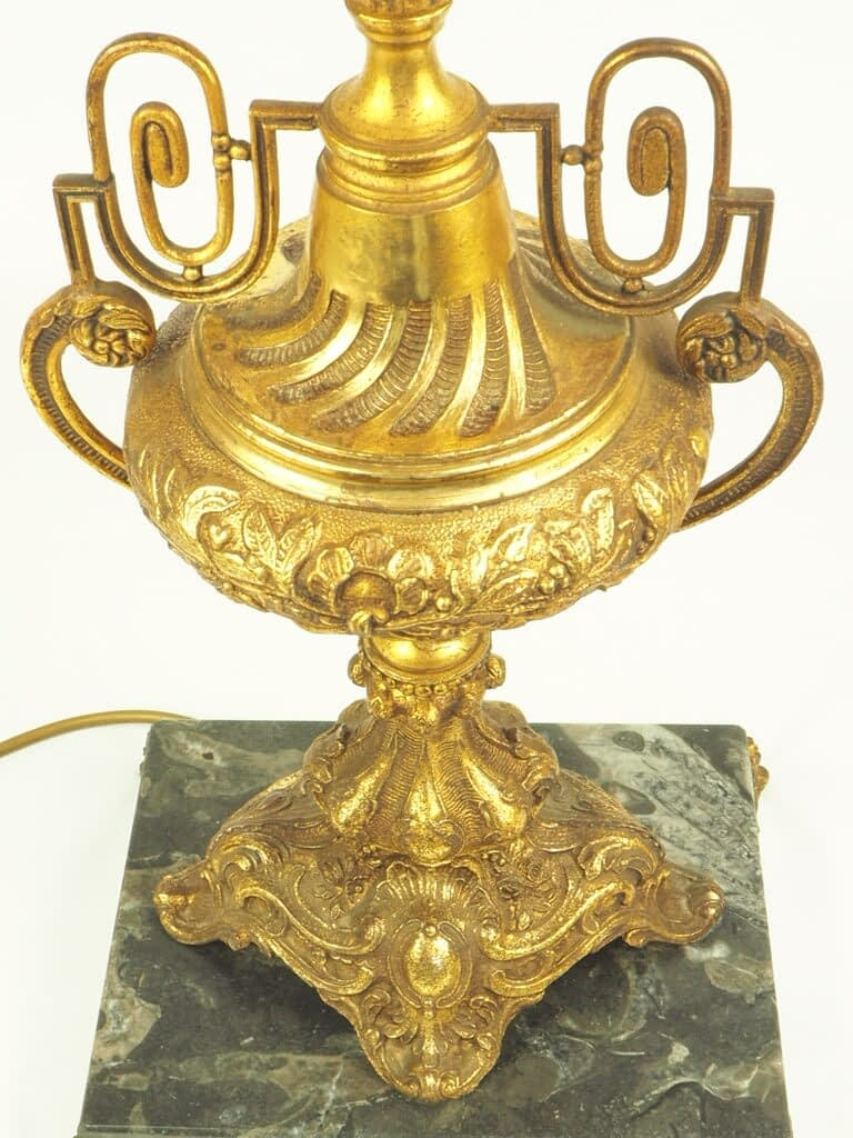 Antique Early 20th Century French Gilt Bronze Empire Lamp on Black Marble Base