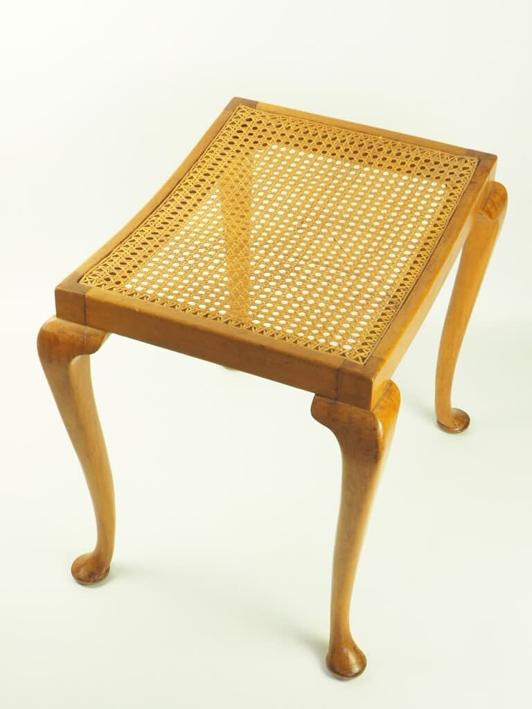 Beautiful Antique Vintage Queen Anne Bergere Cane Dressing Table Stool