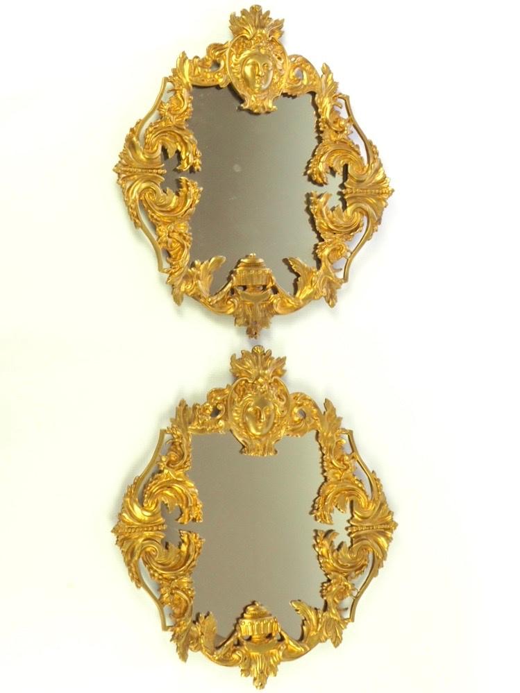 Pair of Antique Victorian Gold Gilt Brass Mirrors