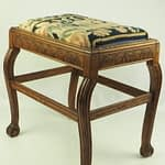 Georgian Oak Carved Stool with Claw Feet and Tapestry Seat