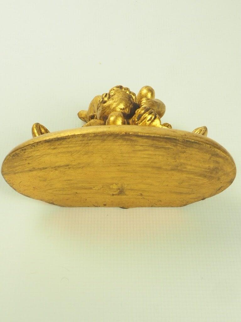 Vintage Ornate Gilt Plaster Cherub Corbel Shelf Bracket