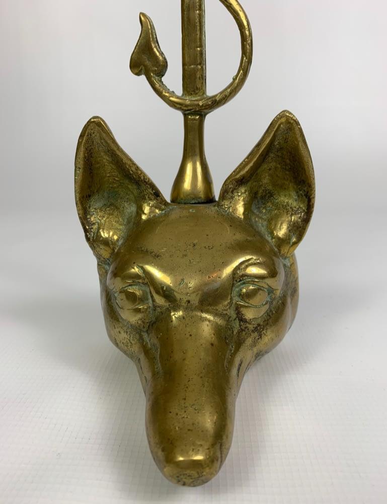 Antique Solid Brass Fox Head Hunting Whip Door Stop