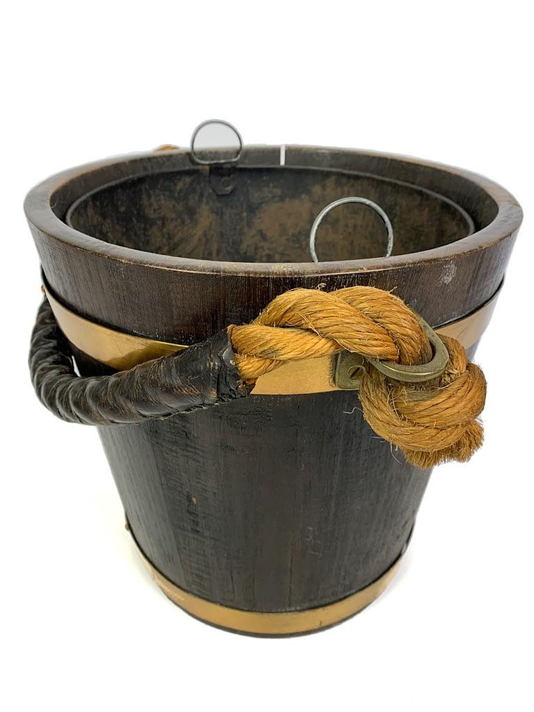 Antique English Oak Peat Bucket (Log or Kindling Bucket)