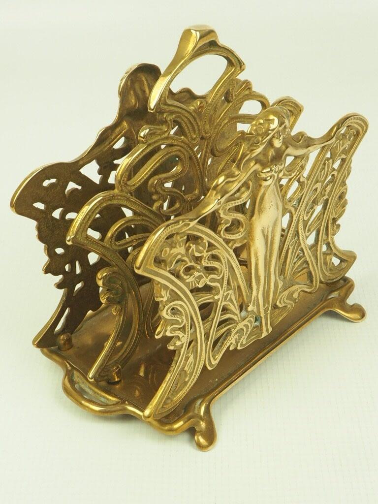 Vintage Art Nouveau Nymph Lady Butterfly Decorative Brass Holder