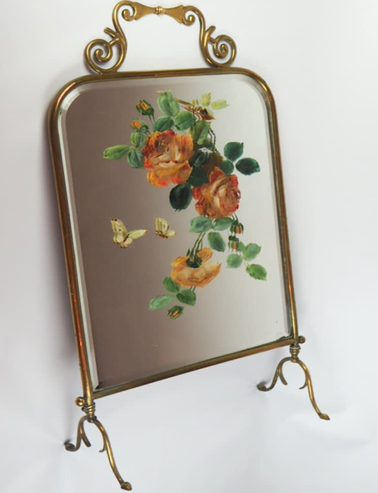 Art Nouveau 1930s Mirrored Brass Fire Screen with Hand Painted Flowers and Butterflies