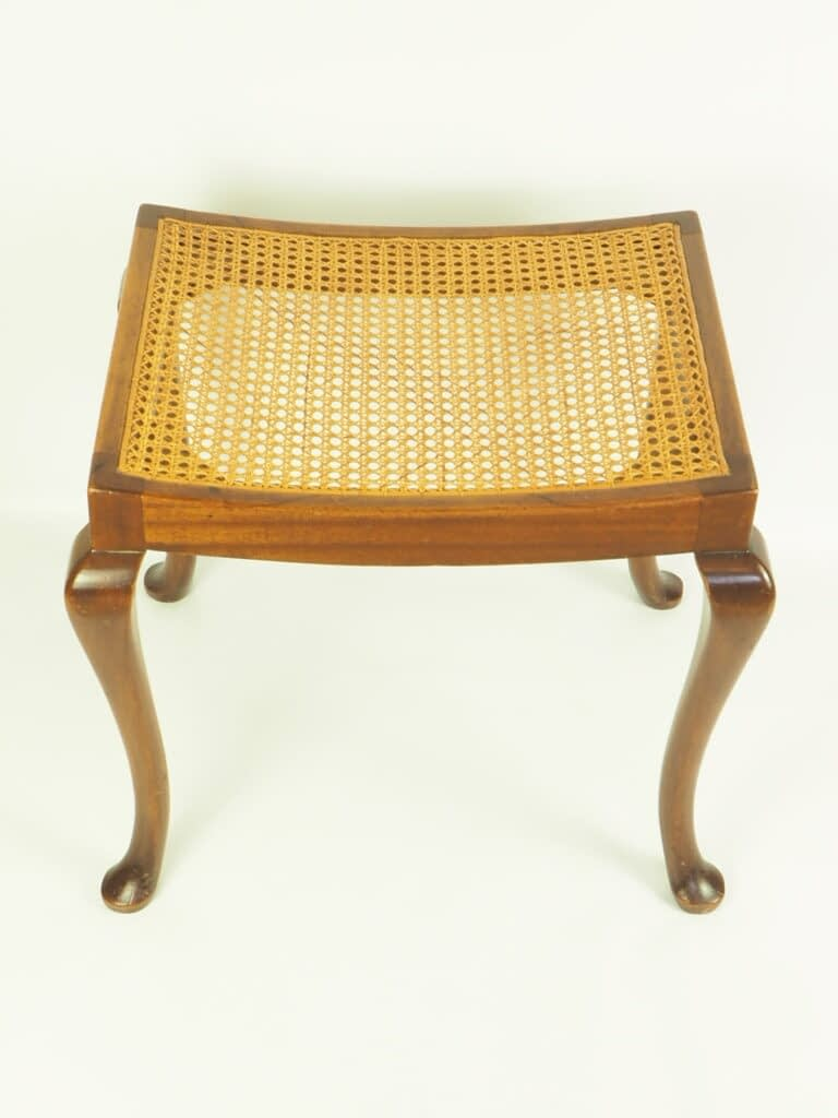 Beautiful Vintage Mahogany Queen Anne Bergere Cane Dressing Table Stool