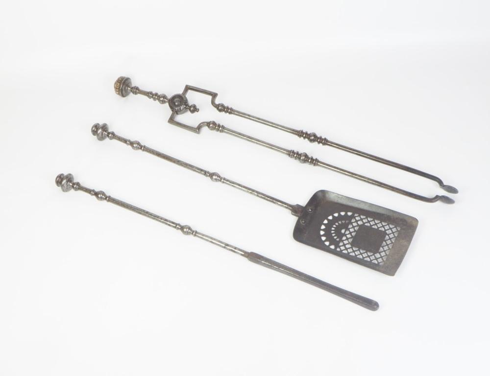 18th Antique English Georgian Steel Fire Companion Set - Poker, Tongs and Shovel