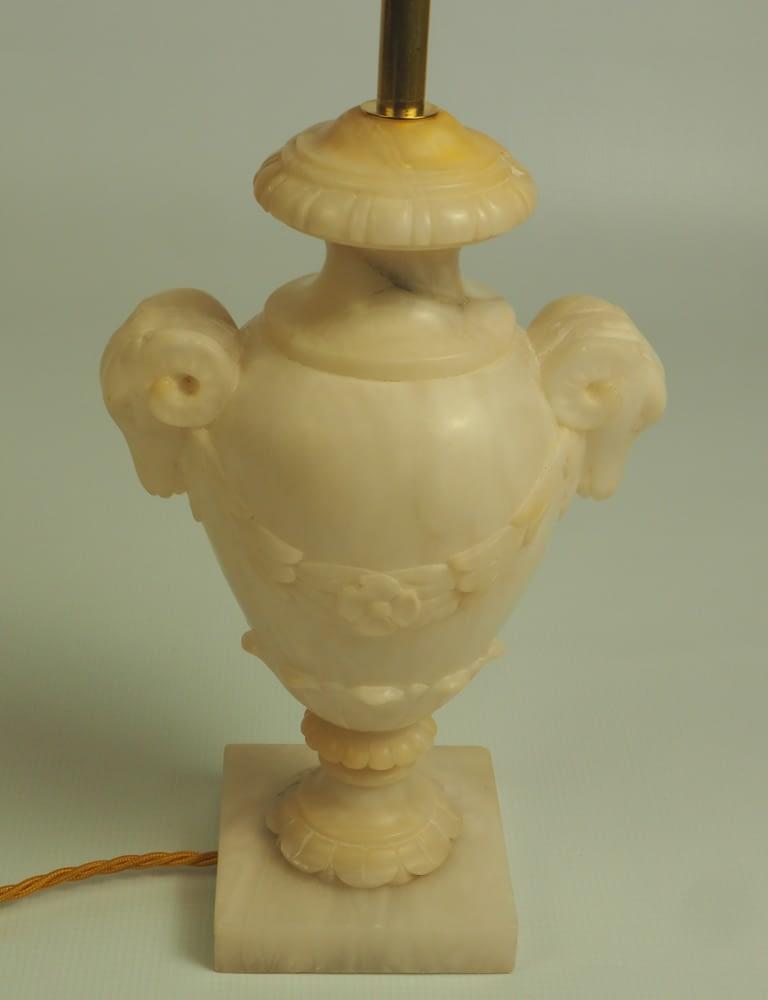 Elegant Italian Hand Carved Marble Rams Head Urn Table Lamp