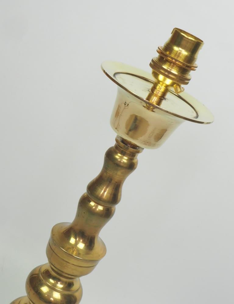 Antique Brass Church Altar Candlestick Lamp