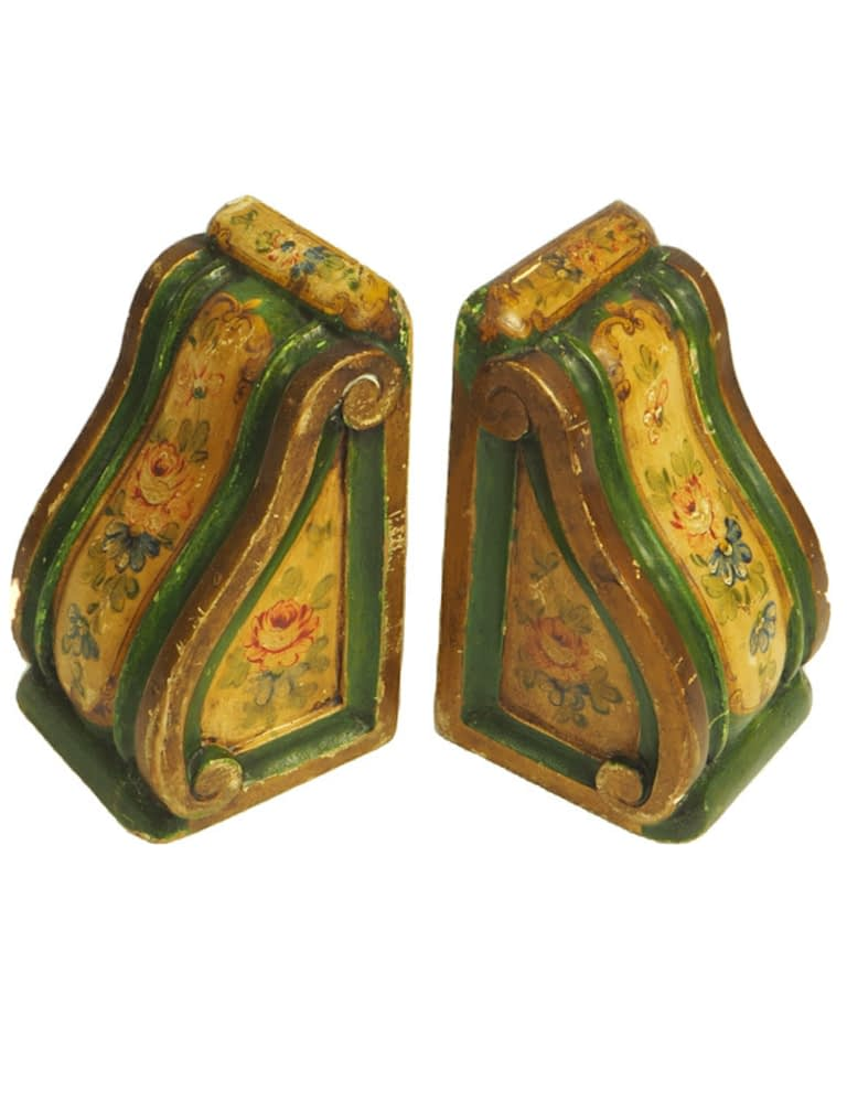 Pair of Stunning Antique Biscottini Florentine Bookends with Hand Painted Flowers