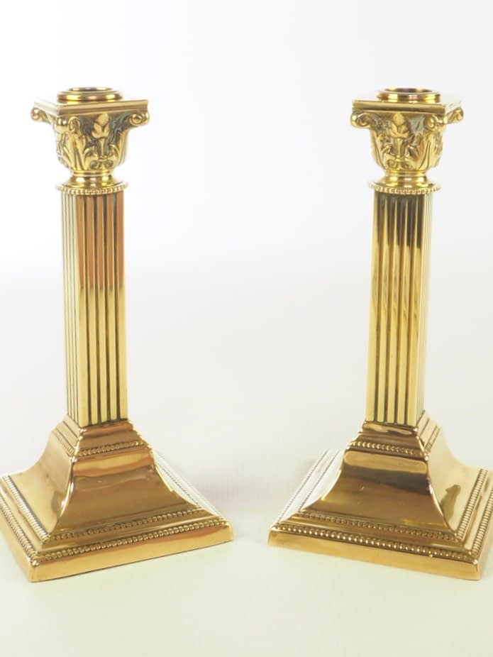 Antique Pair of William Tonks & Sons Brass Candlesticks - Stamped BirminghamW.T + S