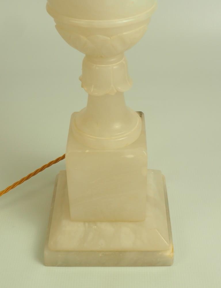 Antique Italian Renaissance Carved Grape Leaves Alabaster Sculpture Urn Table Lamp