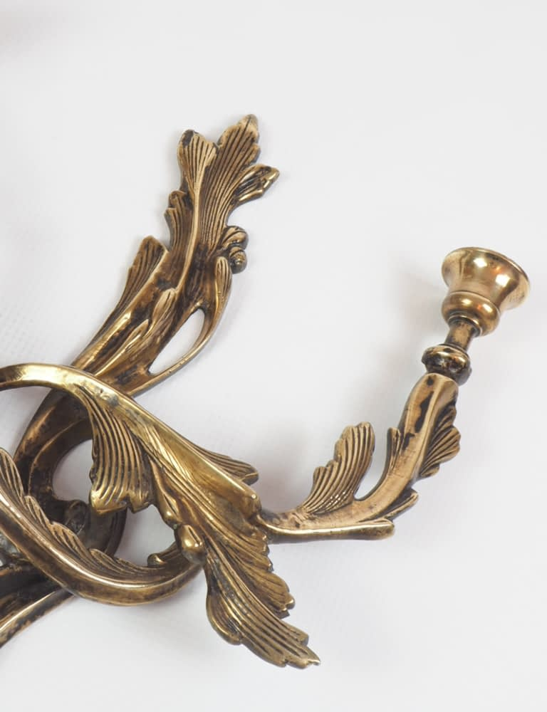 19th Century Solid Bronze Ormolu Twin Candle Wall Sconce