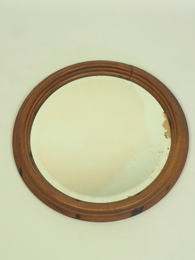 Antique Vintage Oak Bevelled Wall Mirror with Stunning Patina