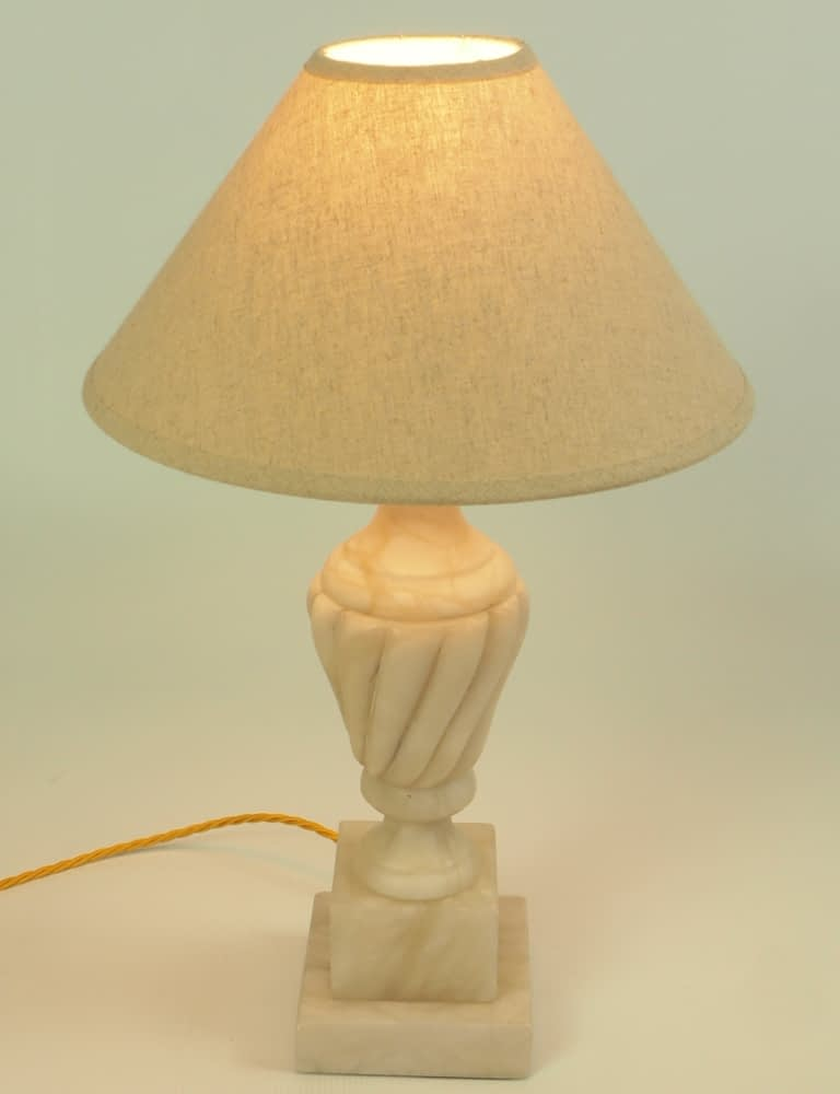 20th Century Carved Marble Table Lamp