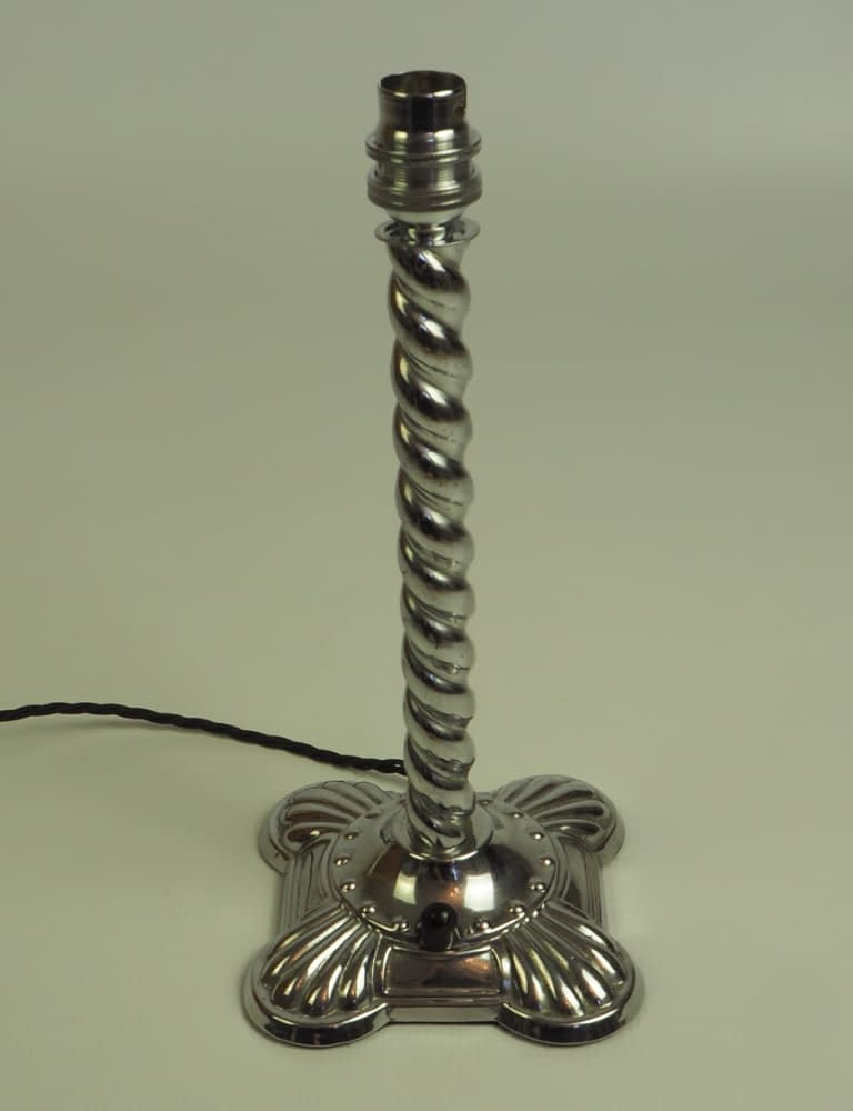 1920s Art Deco Barley-Twisted Clam Shell Base Table Lamp